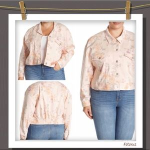 Plus size floral denim jacket